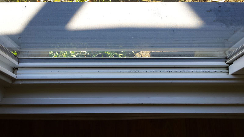 Picture of window track after window cleaning in San Clemente by Blue Coast Window Cleaning Service.