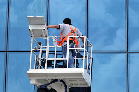 Lift for Commercial Window Cleaning by Blue Coast Window Cleaning